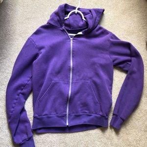 American Apparel royal purple unisex zip up hoodie